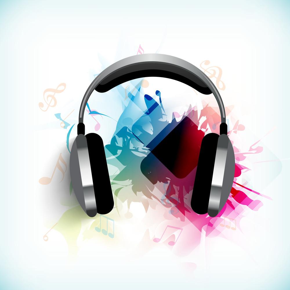 音樂背景隨著耳機和可將筆記用作橫幅傳單海報或背景