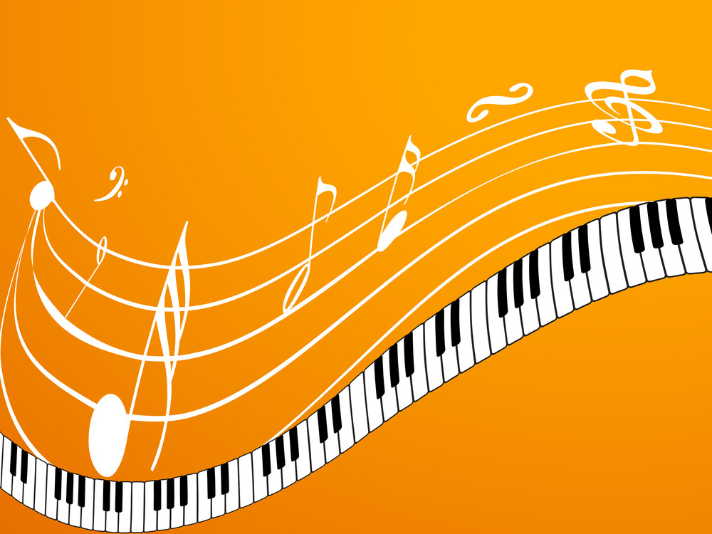 Musical Concept With Keyboard And Symbols Royalty Free Stock Image
