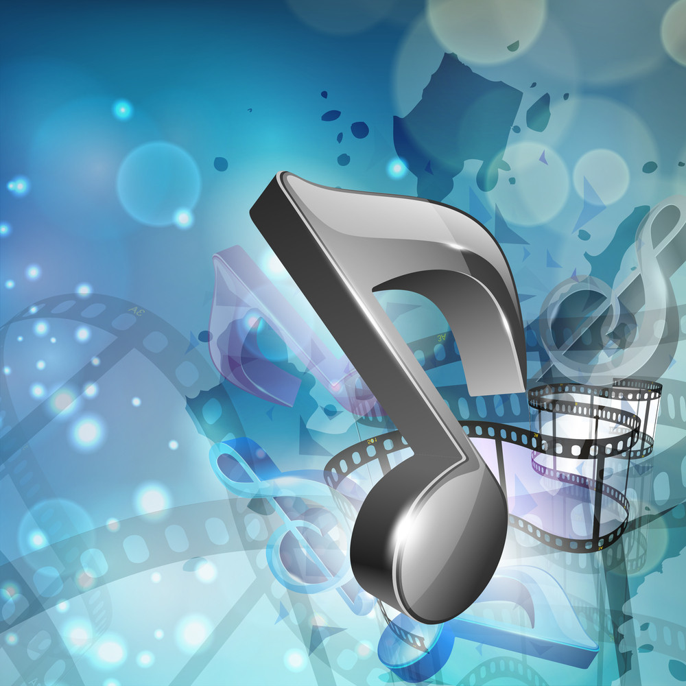 Musical Concept With Musical Note And Film Reel