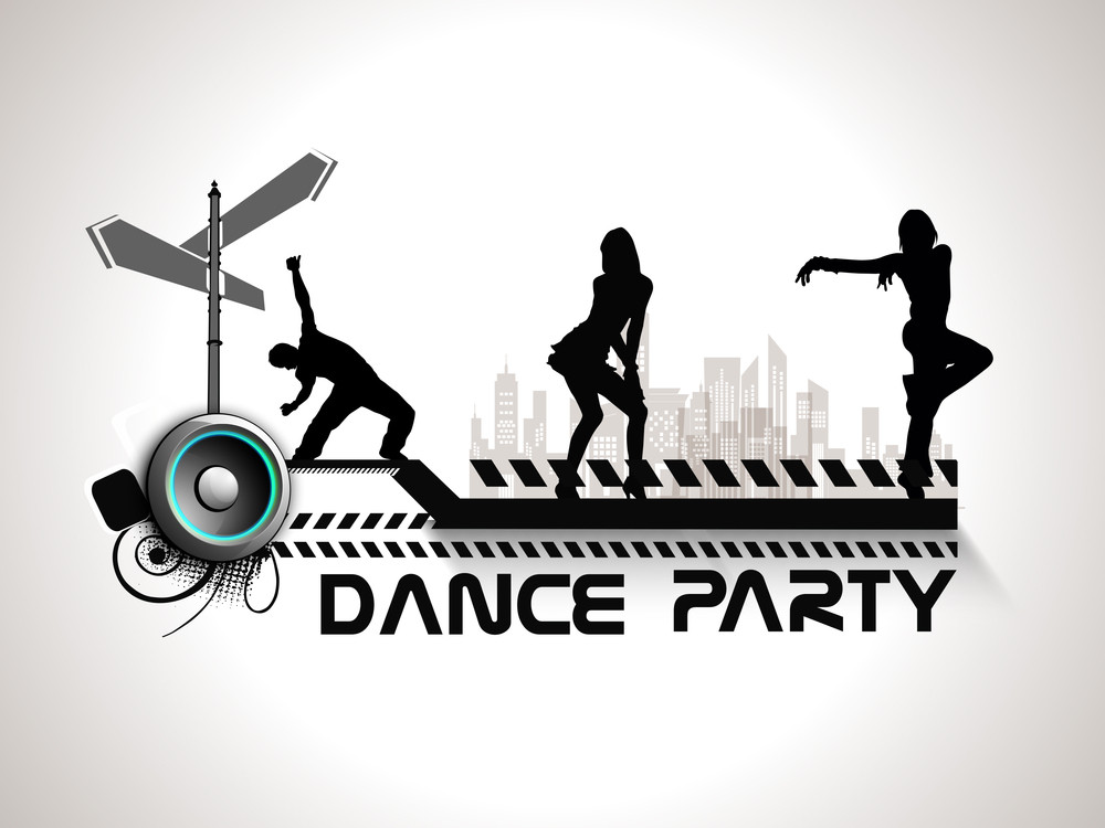 Musical Dance Party Background Flyer Or Banner With Silhouette Of Dancing Girls On Grey