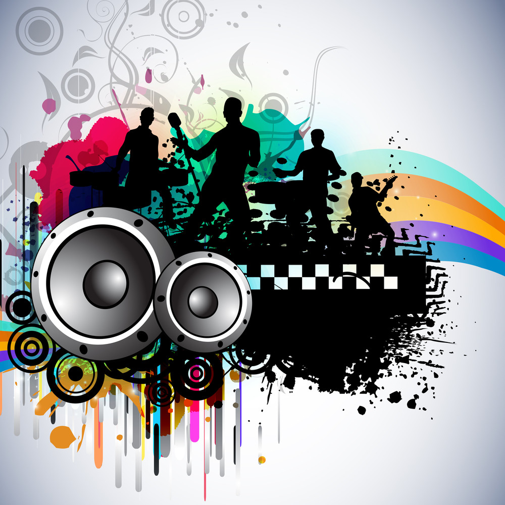 Musical Dance Party Background On Waves