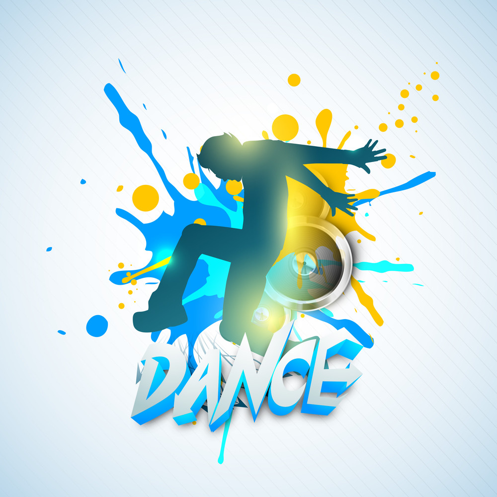 musical dance party concept flyer or banner with dancing boy on