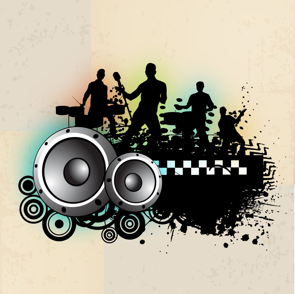 Musical Dance Party Concept On Grunge  Background