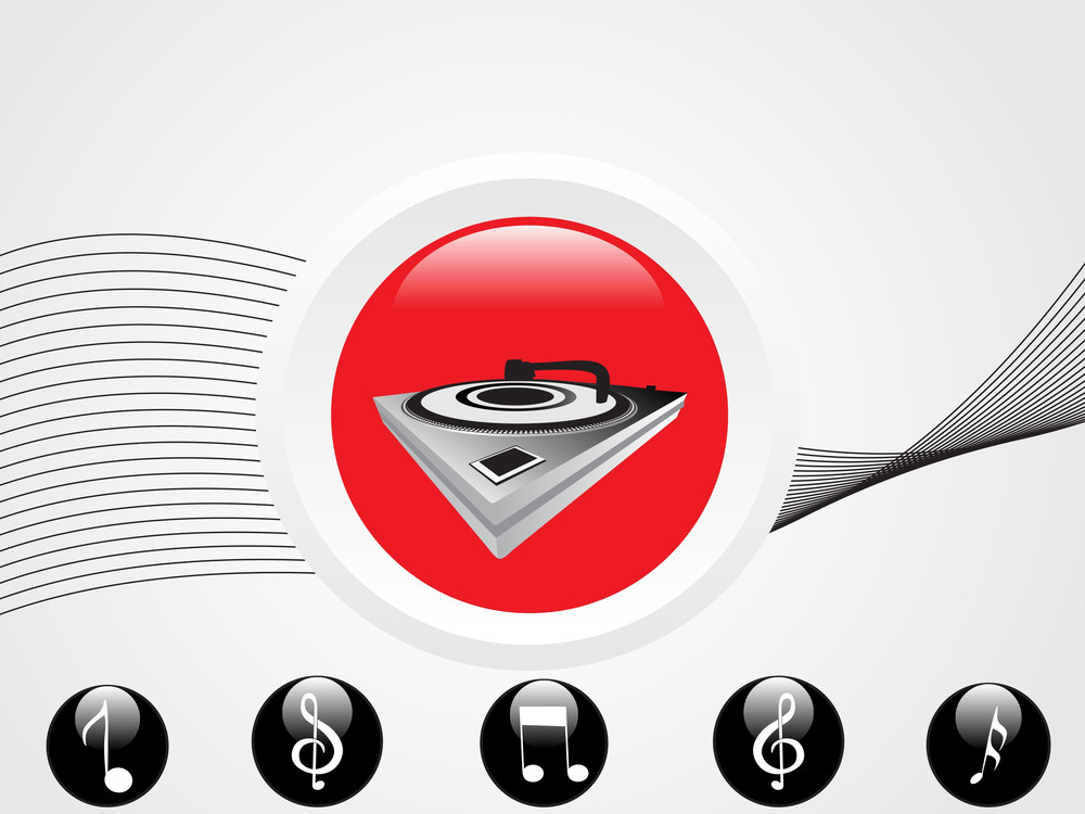Musical Icons And Waves On White Background