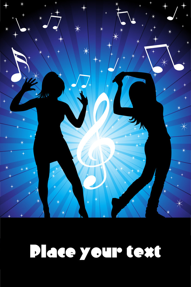 Musical Notes Background With Girls Silhouette