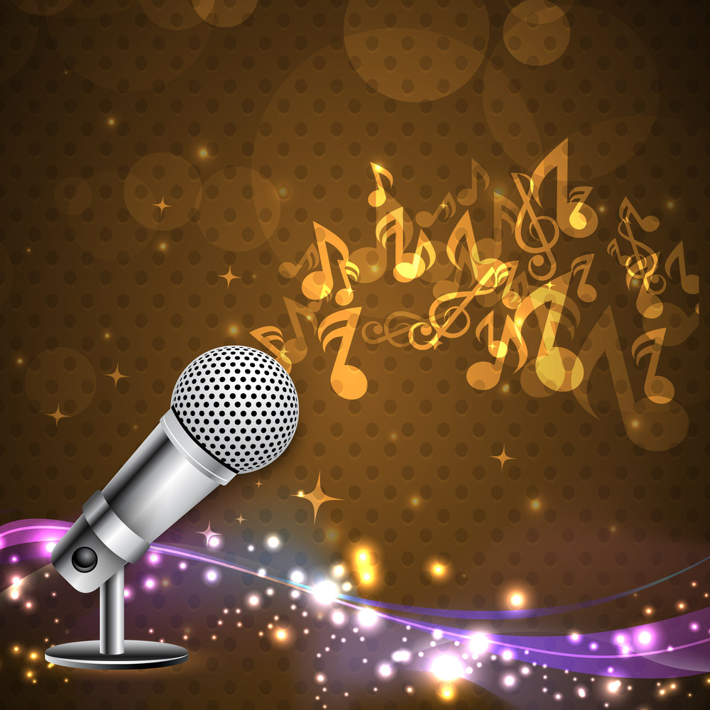Musical Notes Coming Out From Microphone On Shiny Background