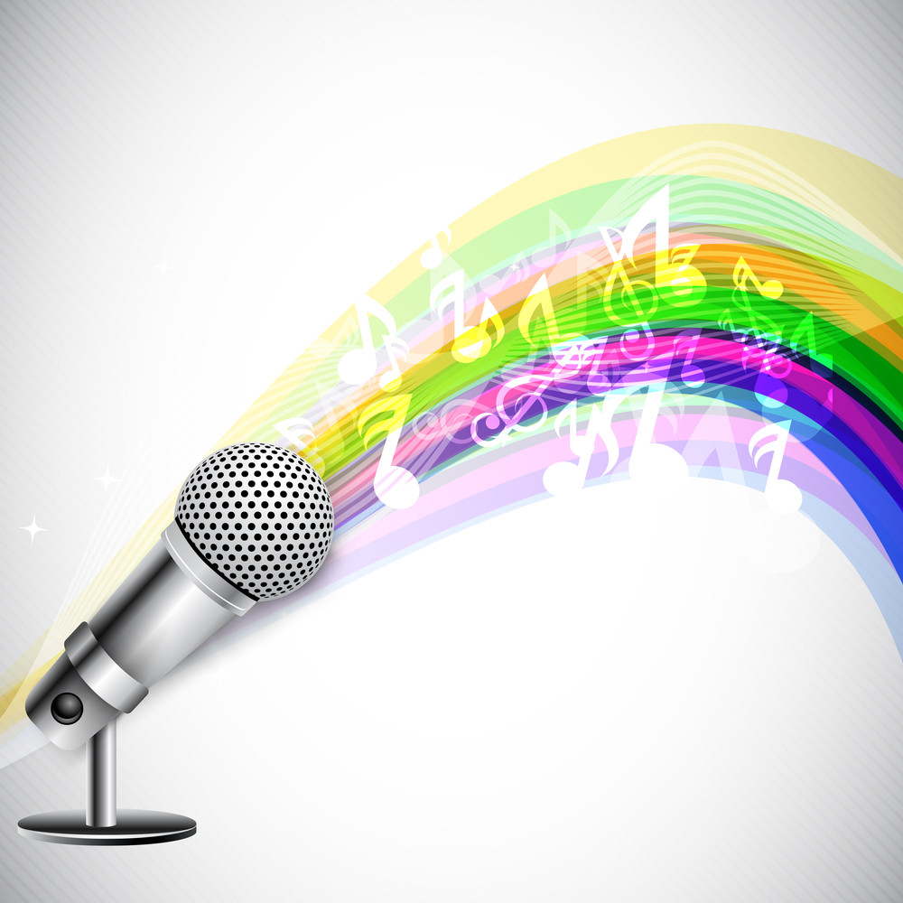Musical Notes Coming Out From Microphone.