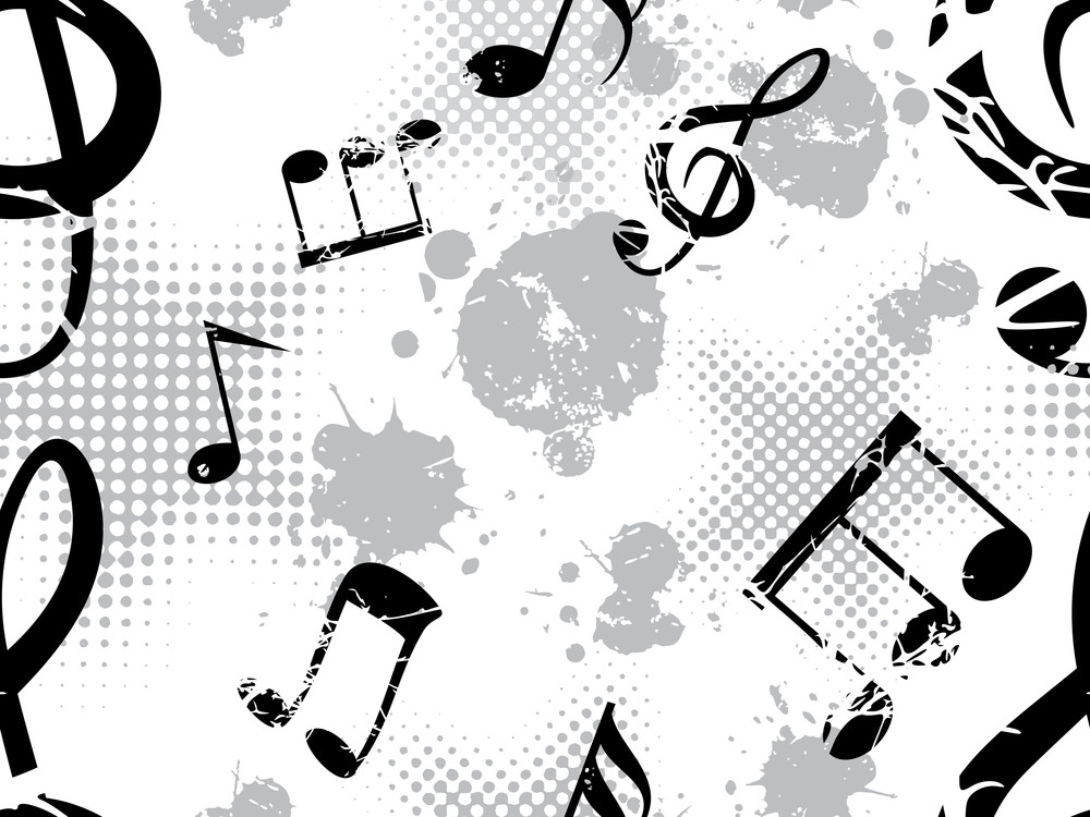 Musical Notes On Grungy Spot Background
