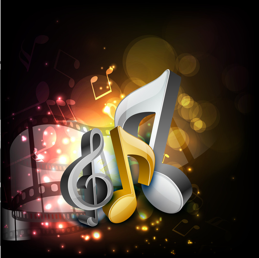 Musical Notes On Shiny Background And Film Reel