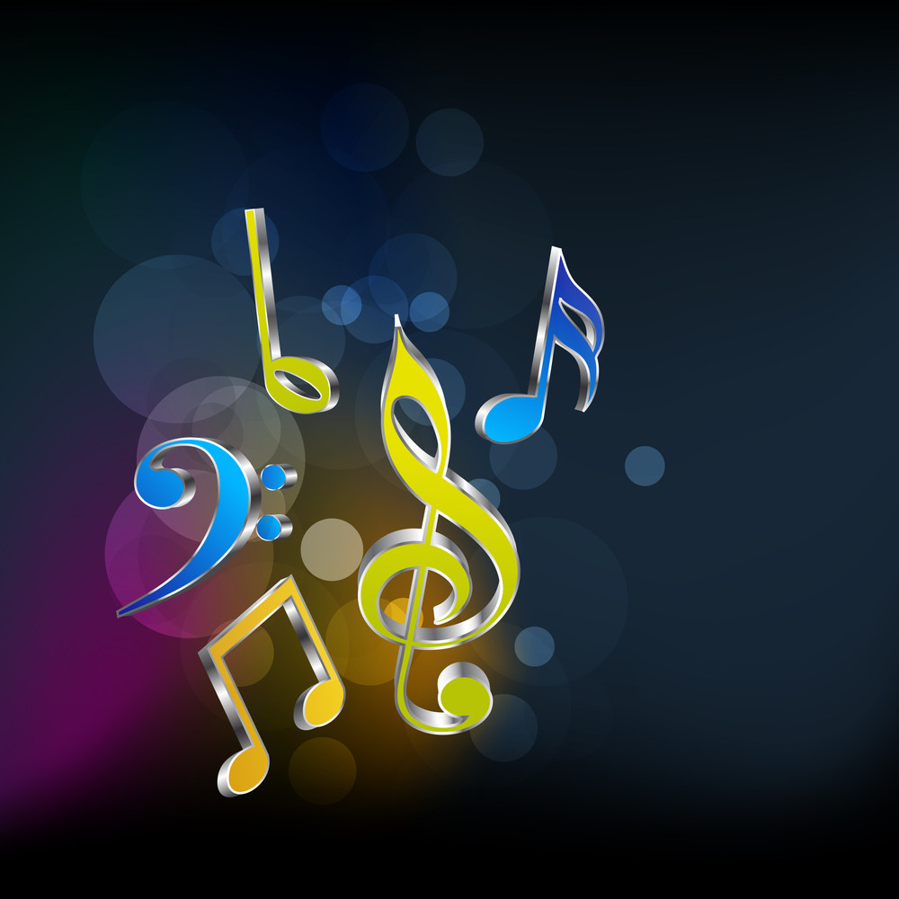 Musical Notes On Shiny Background