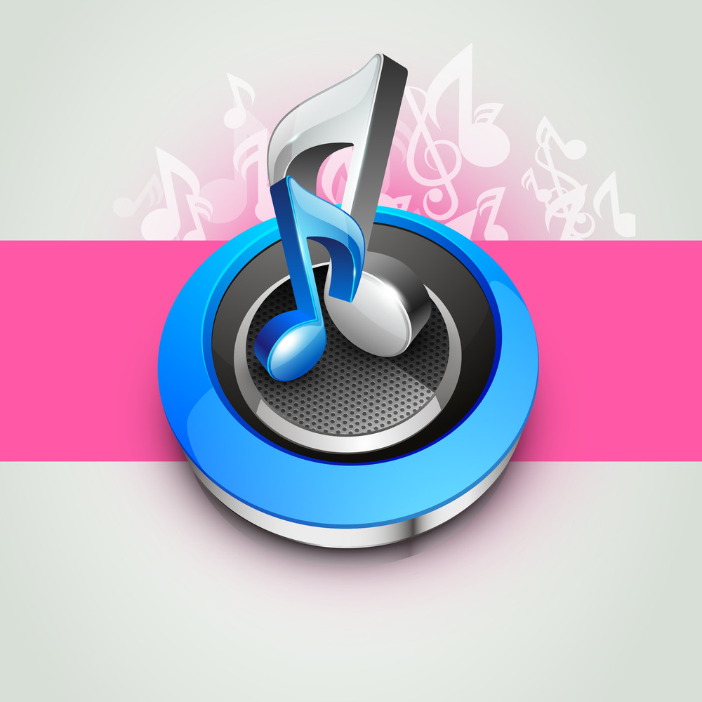 Musical Notes On Speaker And Pink Backround