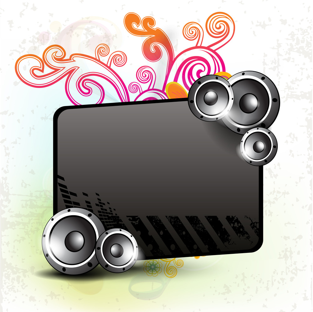 Musical Party Background With Speakers And Board Available For Your Text On Floral Design