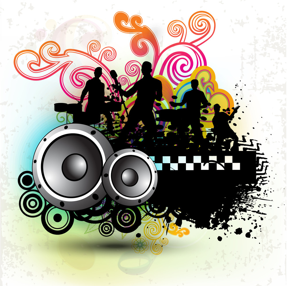 Musical Party Concept On Floral Background