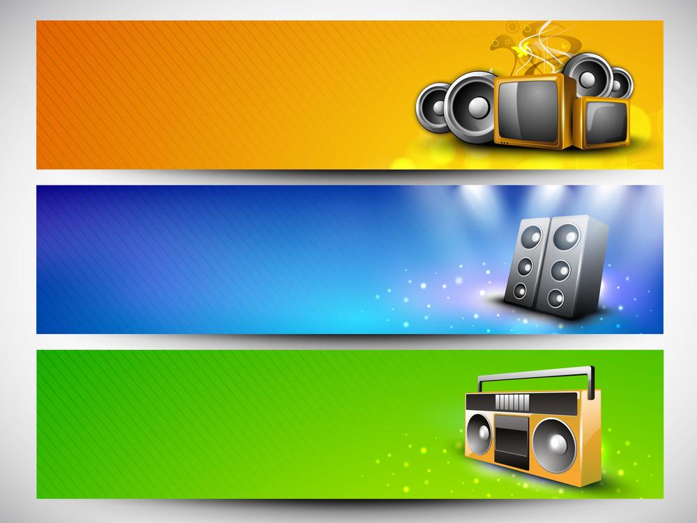 Musical Website Header Or Banner Set