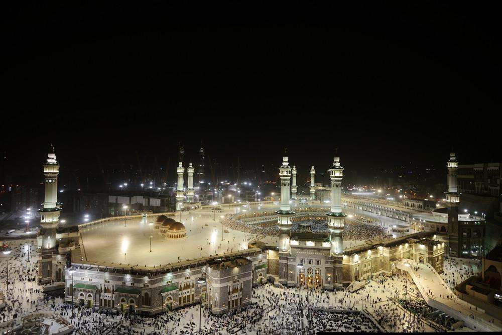 Muslim pilgrims in the Kaaba after prayer at Masjid al Haram in Makkah, Saudi Arabia