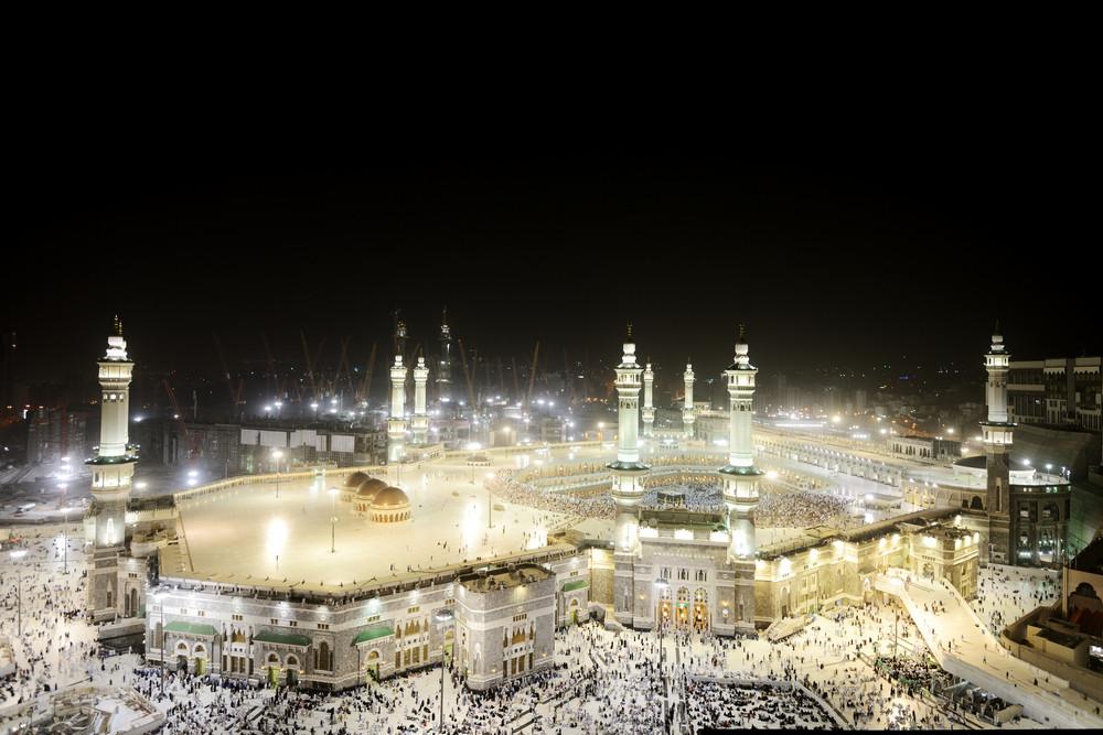 Muslim Pilgrims In The Kaaba After Prayer At Masjid Al
