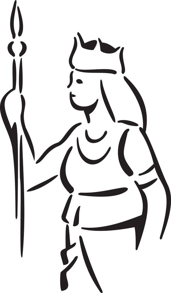 Mythological Girl Holding Weapon In Her Hand.