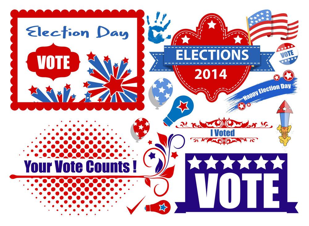 National Usa Election Day Graphics Set