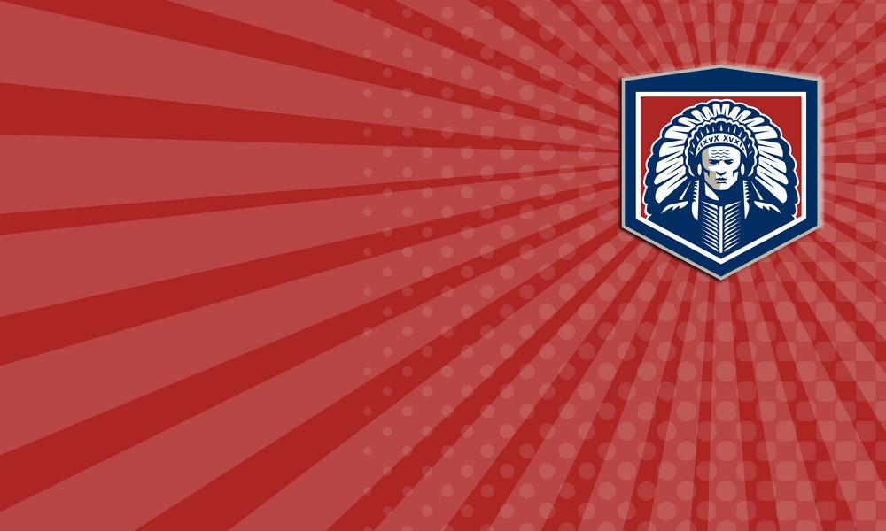 Native American Chief Shield Retro Business Card