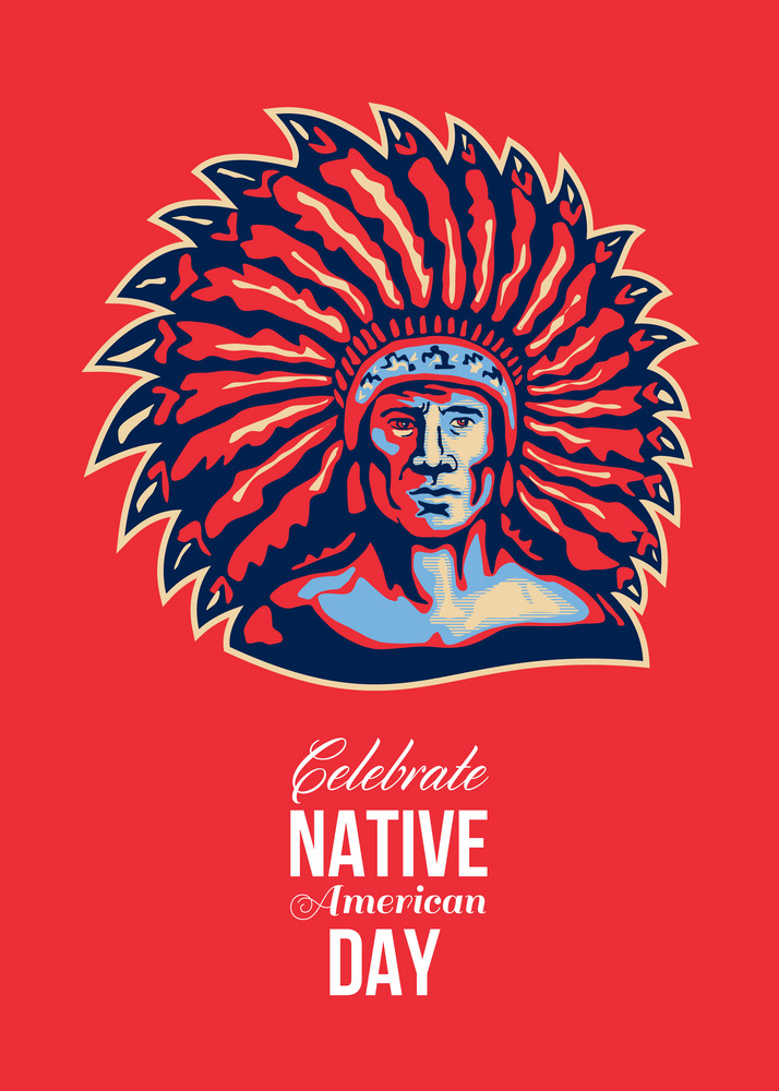 native american day celebration retro poster card royalty free stock