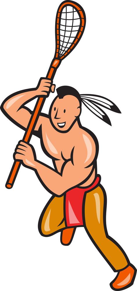 Native American Lacrosse Player Crosse Stick