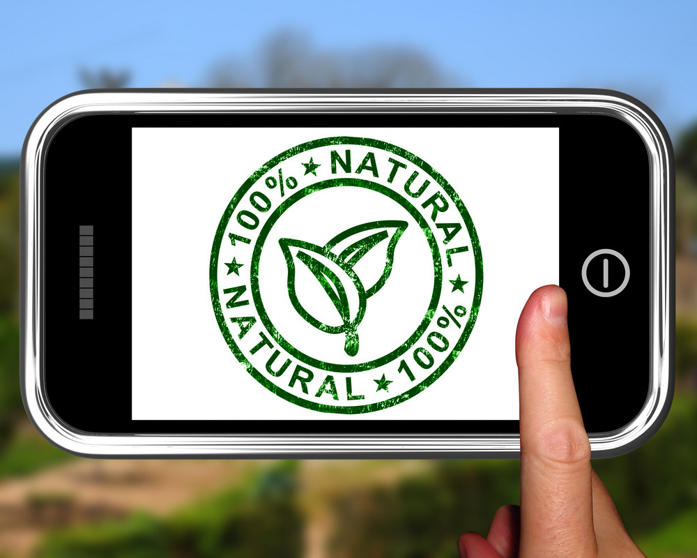 Natural 100 Percent On Smartphone Shows Pure And Healthy