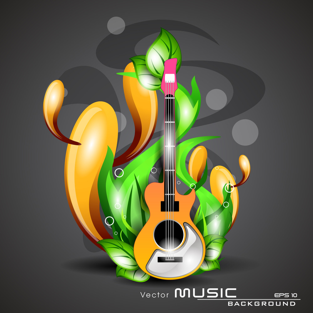 Natural Music Illustration With Guittar And Grass