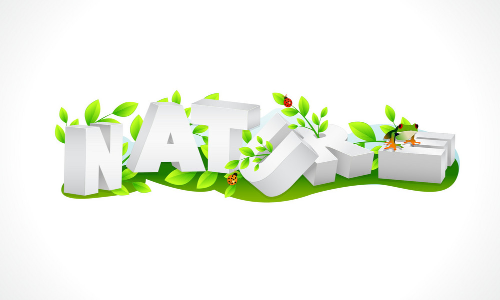 Nature 3d Text Vector Illustration