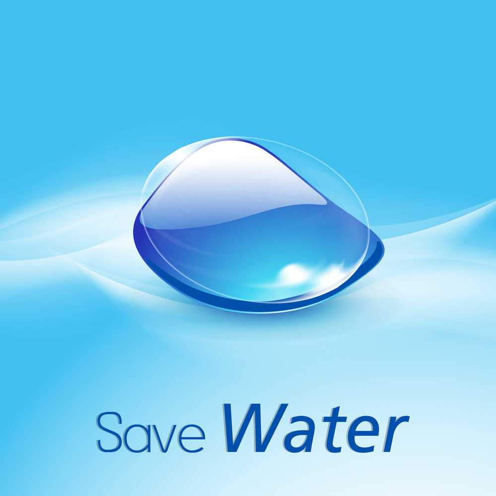 Nature Background With Blue Water Drop On Blue Background.