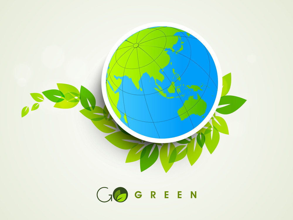 Nature Background With Globe On Green Leaves Background.