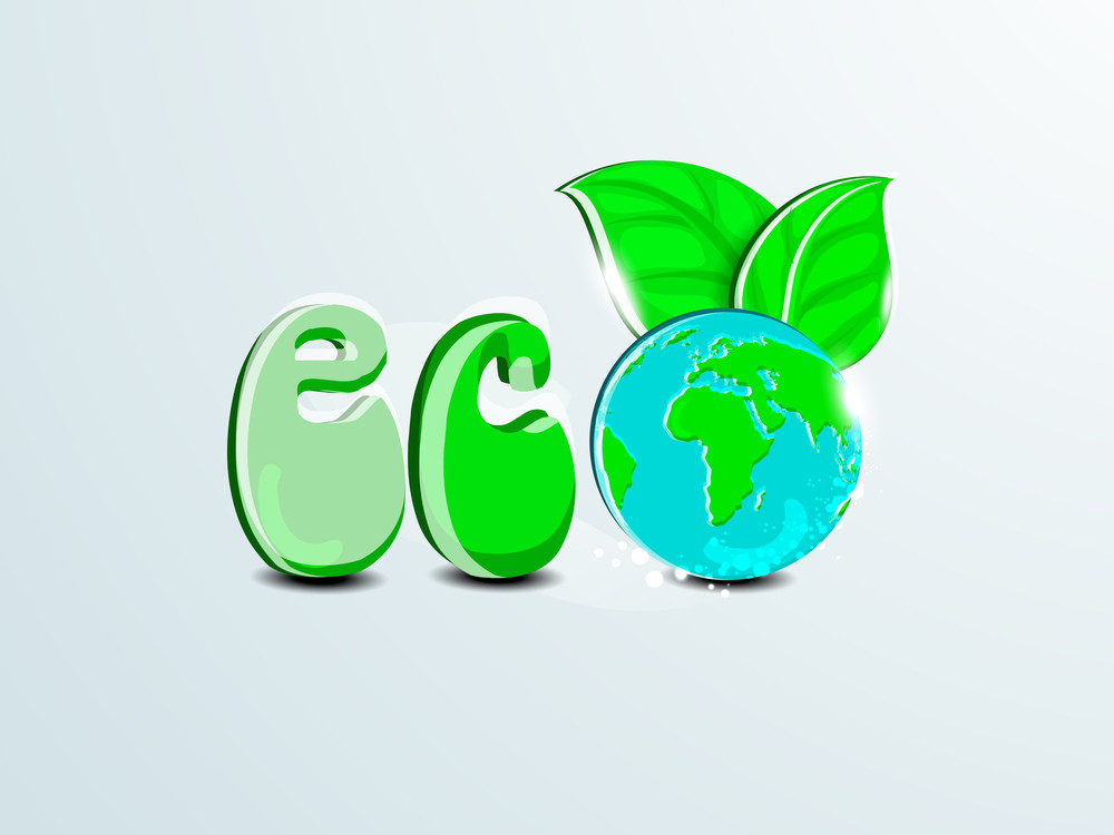 Nature Background With Glossy Green Text Eco And Globe With Green Leaves.