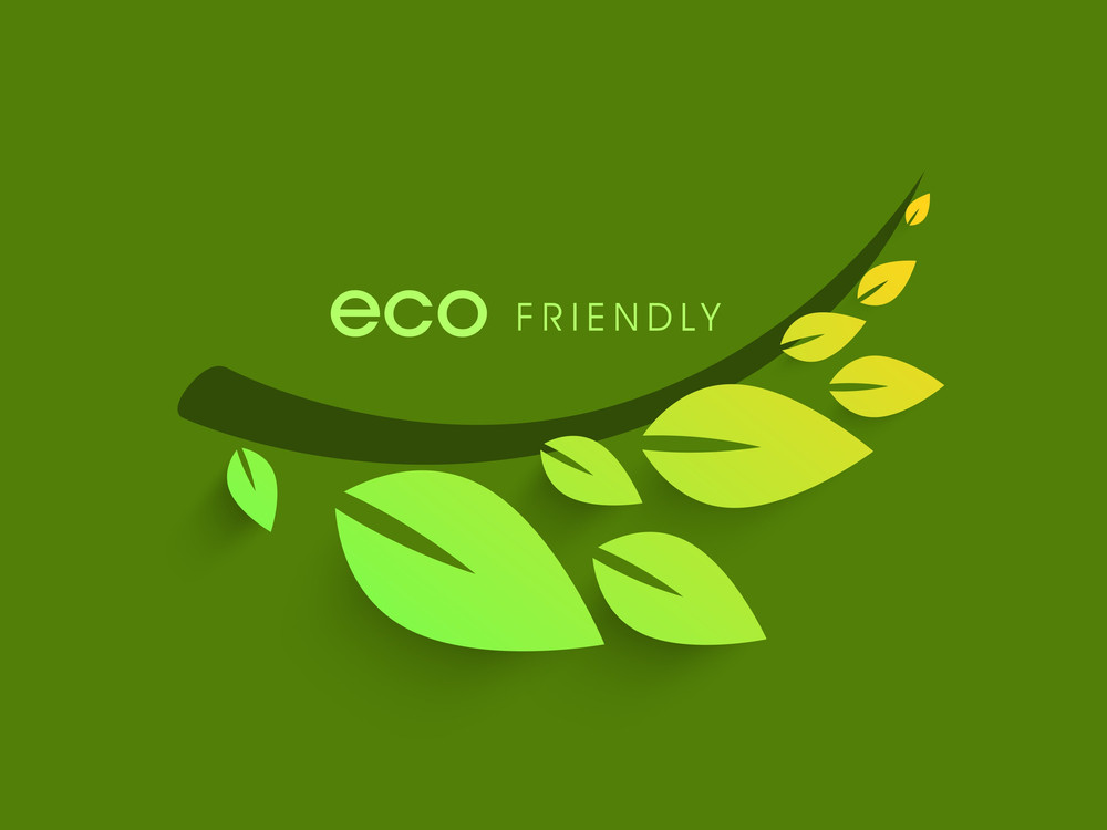 Nature Background With Green Leaves And Stylish Text Eco Friendly On Green Background.