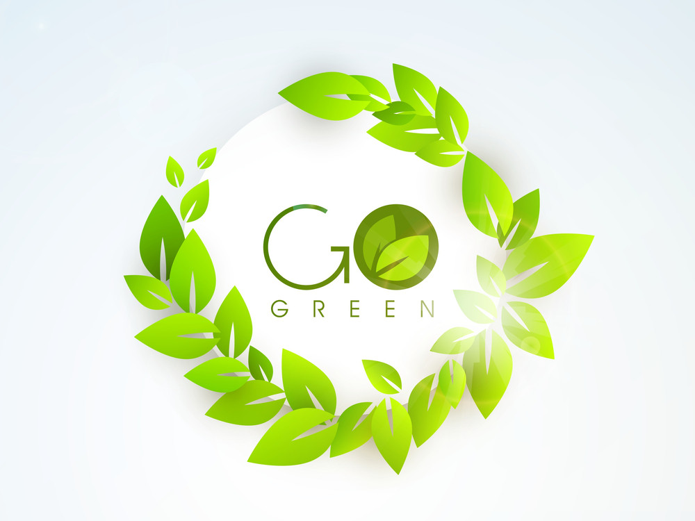 Nature Background With Green Leaves And Stylish Text Go Green On Blue Background.