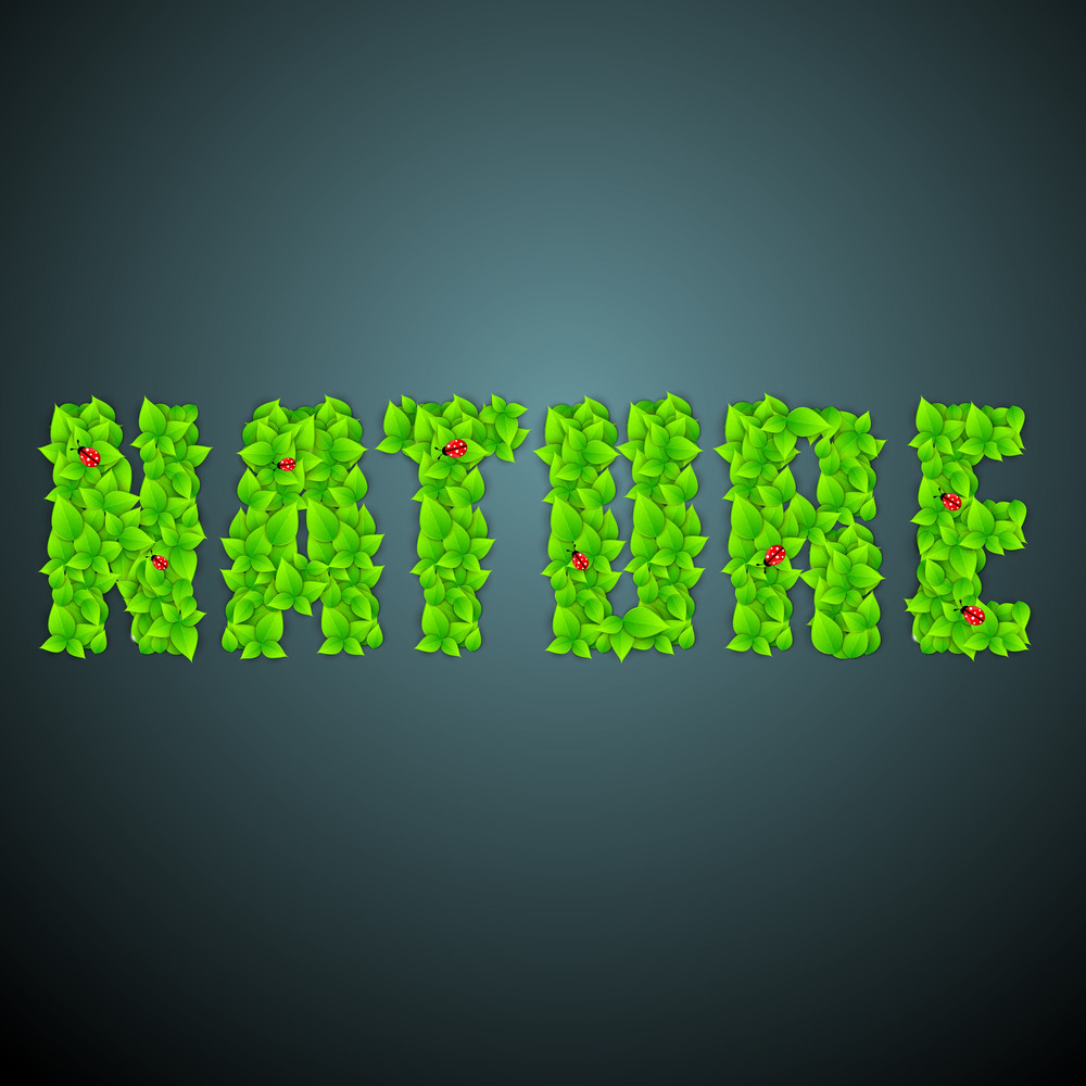 Nature Background With Green Text Nature On Blue Background.