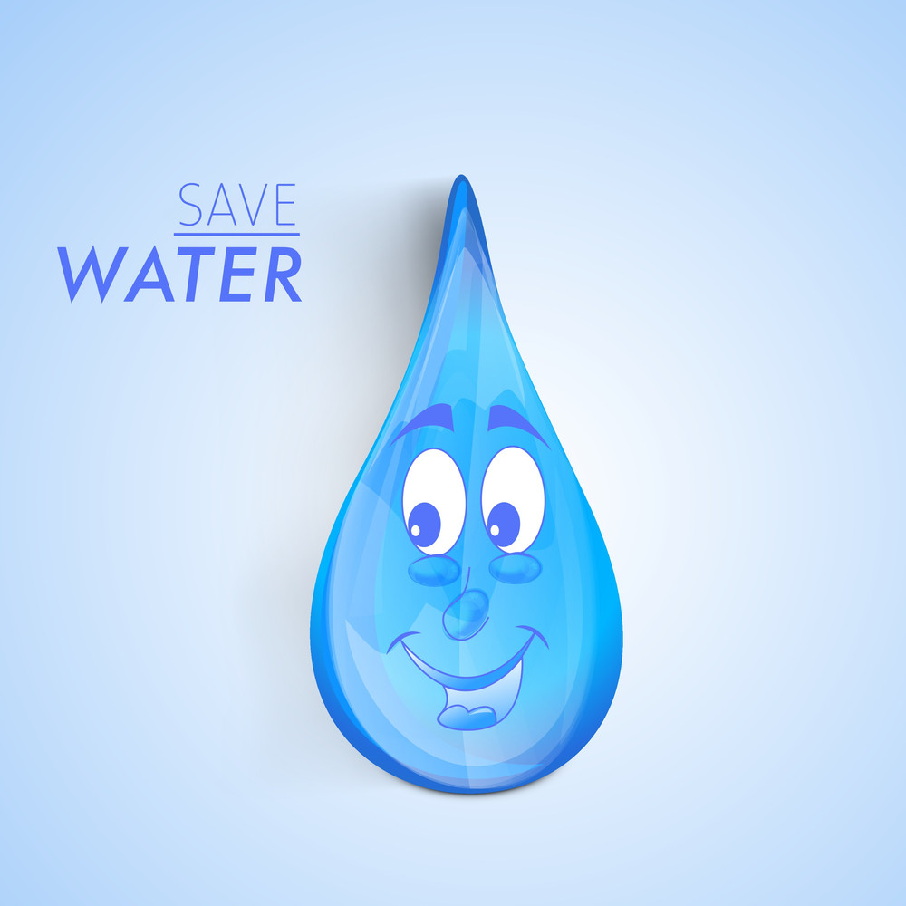 Nature Background With Happy Water Drop On Blue Background.