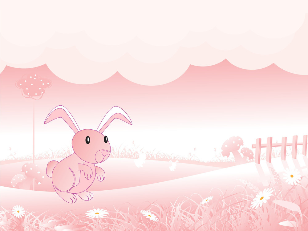 Nature Background With Isolated Rabbit