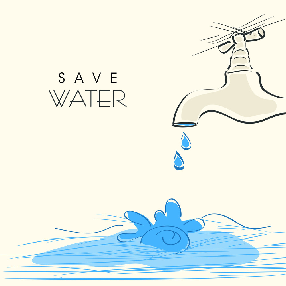 Nature Background With Save Water Concept.