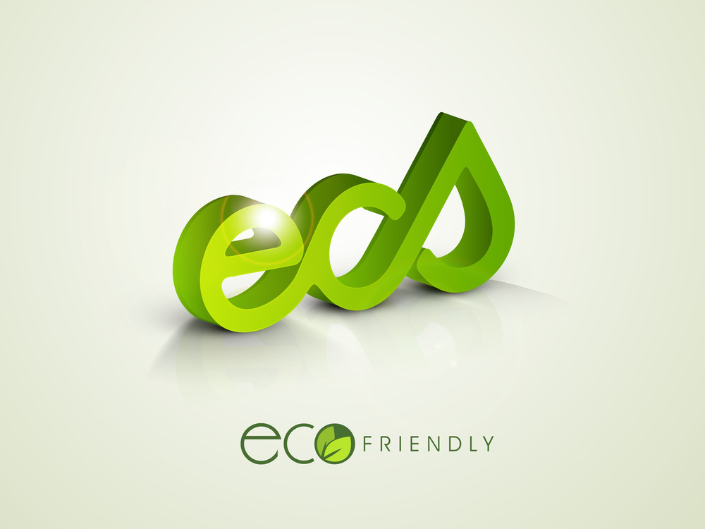 Nature Background With Stylish Text Eco And Water Drop In Green Color.