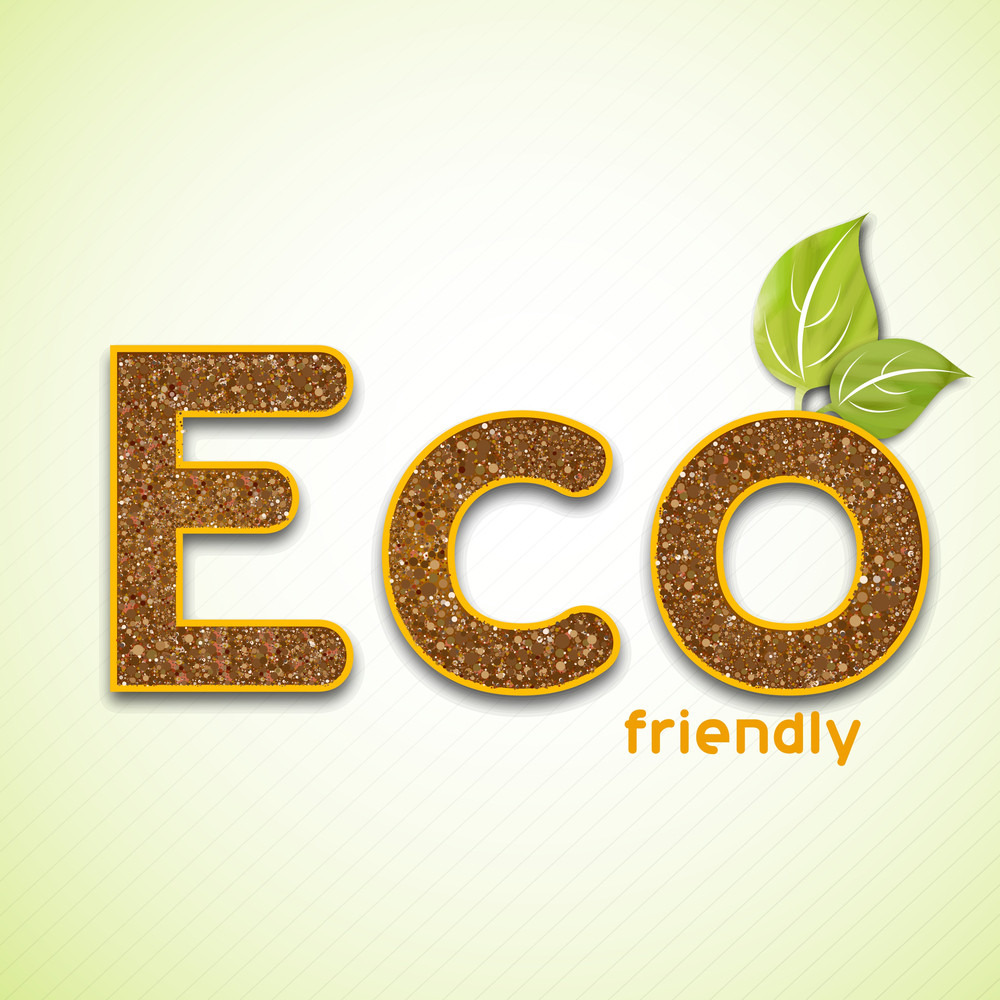Nature Background With Stylish Text Eco On Green Background.