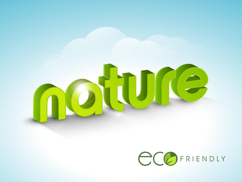 Nature Background With Stylish Text Nature On Shiny Blue Background.