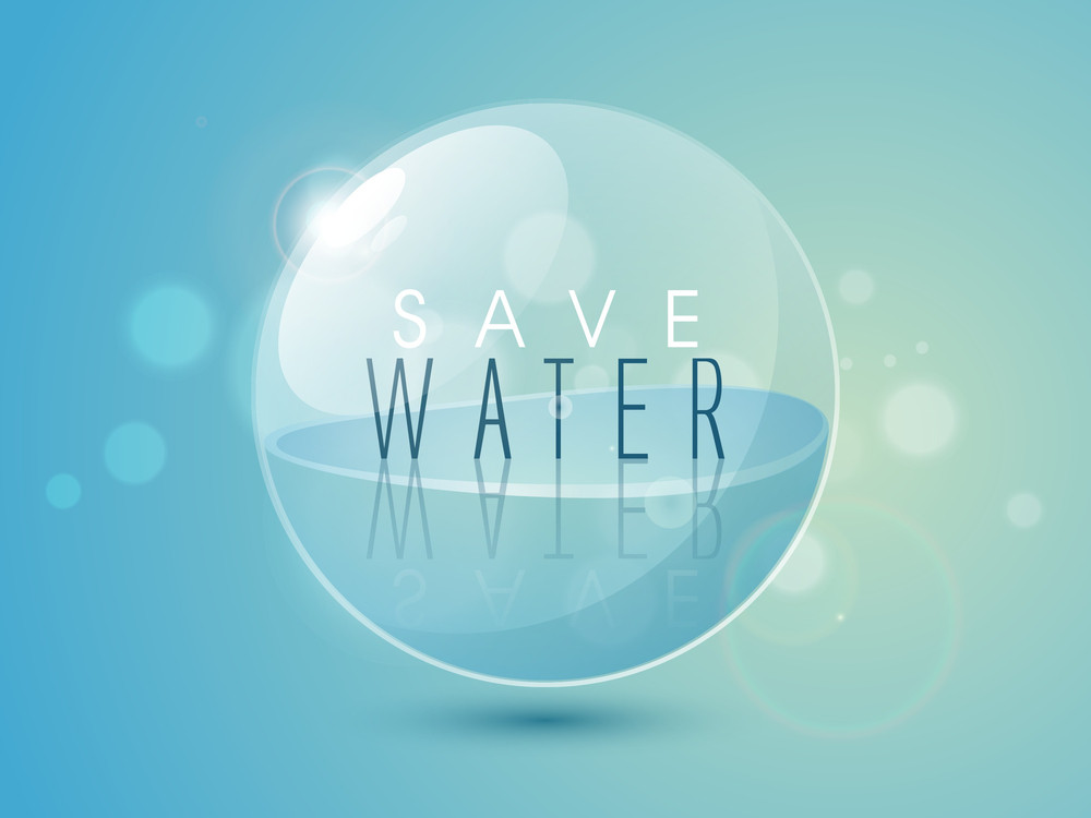 Nature Background With Stylish Text Save Water In A Bubble On Blue Background.