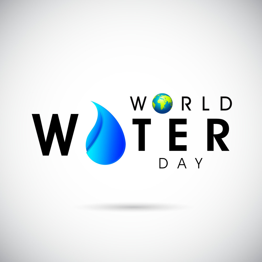 Nature Background With Stylish Text World Water Day Globe And Water Drop.