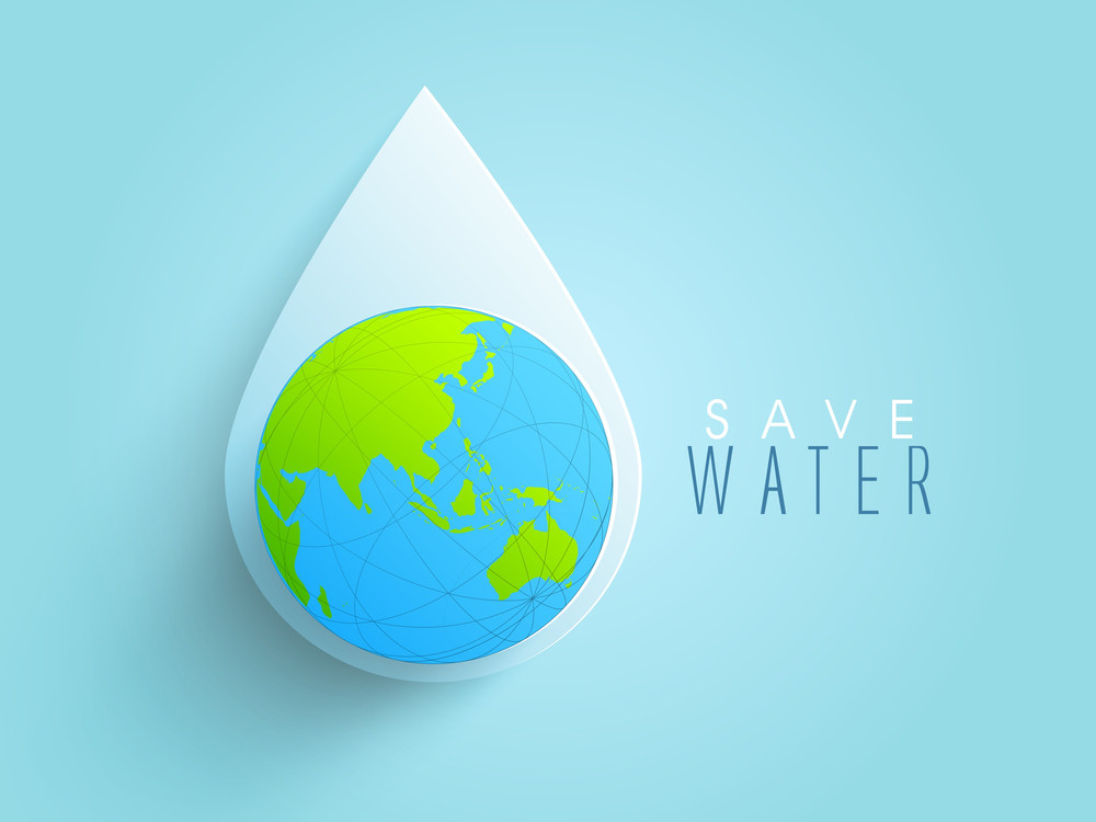 Nature Background With Water Drop And Globe On Blue Background.