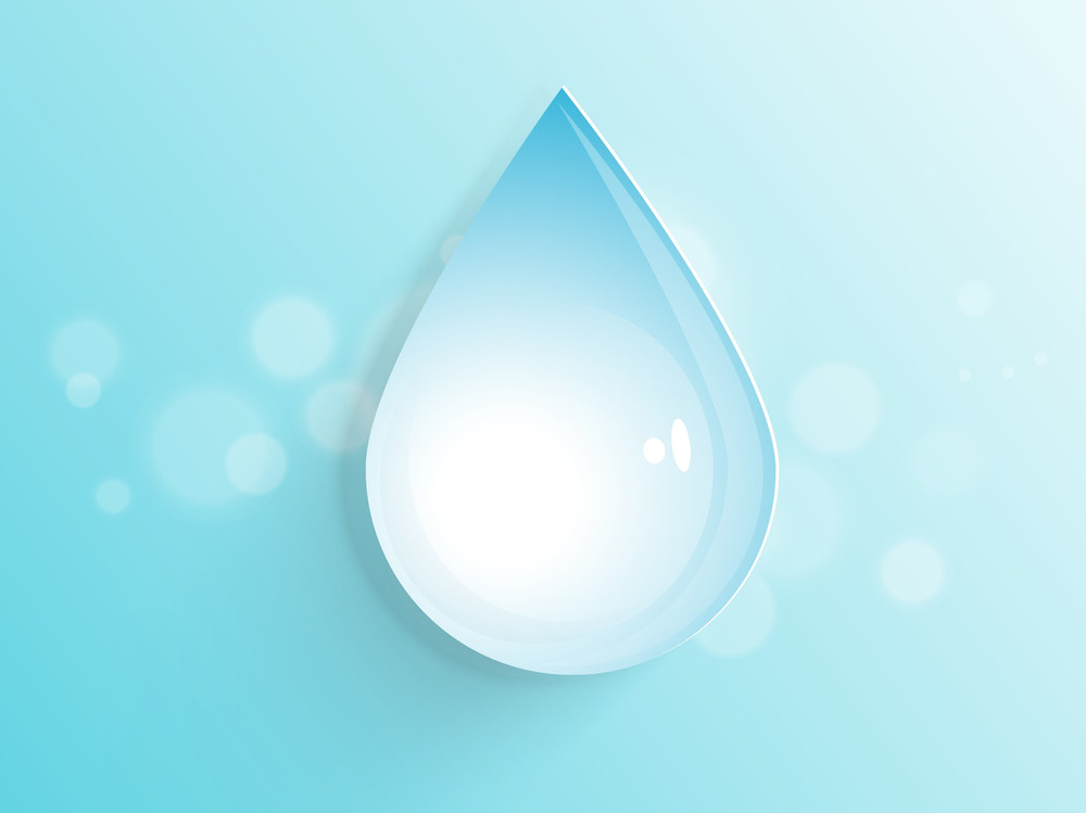 Nature Background With Water Drop On Blue Background.