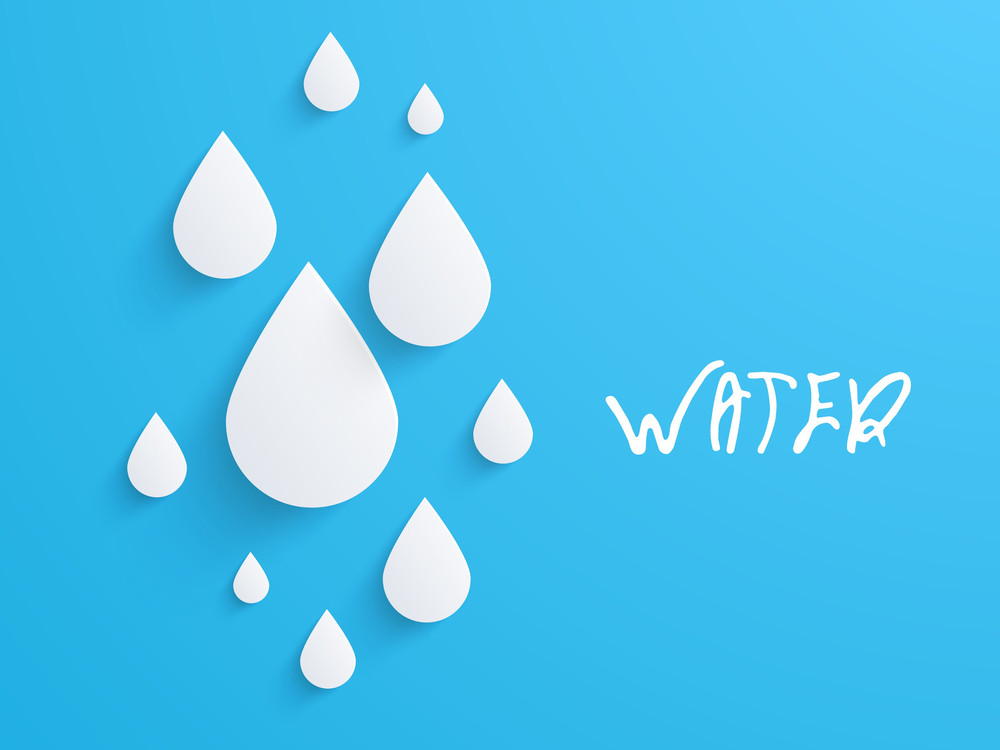 Nature Background With Water Drops On Blue Background.
