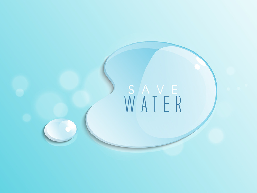 Nature Background With Water Drops On Blue