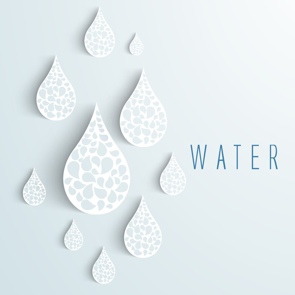 Nature Background With Water Drops On Blue.