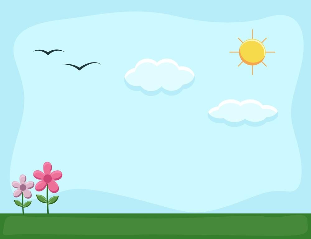 Nature Landscape - Cartoon Background Vector