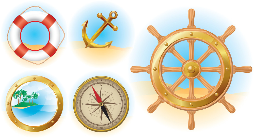 Nautical Icons Set. Vector.
