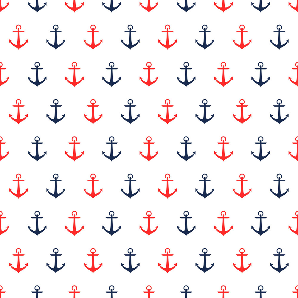 nautical pattern of red and blue anchors on a white background
